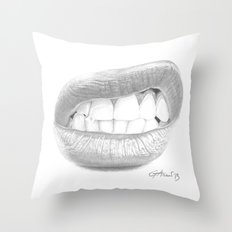 Rabbia / Rage - Aggressive Lips - Mouth Throw Pillow