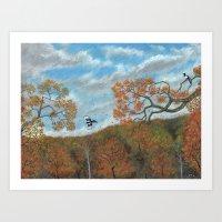 Magpie Woods Art Print