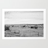 Marfa Desert In Black An… Art Print