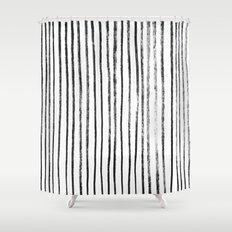 Black Dry Brush Line Pattern (Vertical) Shower Curtain