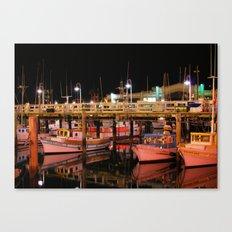 Harbor Reflection at Night Canvas Print