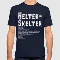 Helter Skelter (white on black) Mens Fitted Tee Navy SMALL