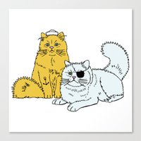 Navy Cats Canvas Print