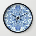 Pattern in Denim Blues on White Wall Clock