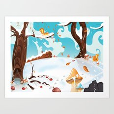 Cartoon Snowing Landscap… Art Print