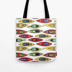 I Heart Kayaks Pattern Tote Bag