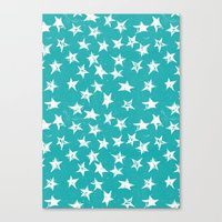 Linocut Stars - Verdigris & White Canvas Print