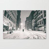 New York - Snow at Night Canvas Print