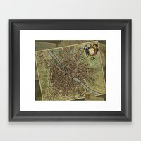 Old Paris Map And Other … Framed Art Print