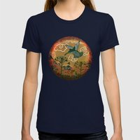 hummingbirds Womens Fitted Tee Navy SMALL