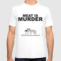 MEAT IS (tasty) MURDER Mens Fitted Tee White SMALL