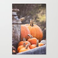 Pumpkins + Milk Cans Canvas Print