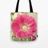 Deep Pink Hollyhock Flower Tote Bag