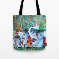 4 Baby Elephants - watercolor Tote Bag