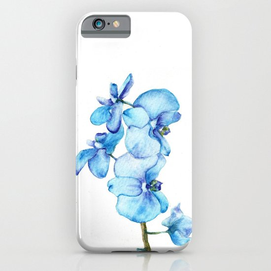 Blue Orchids Two - Watercolor iPhone & iPod Case