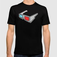3d glasses Mens Fitted Tee Black SMALL