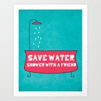 Save Water Shower With A… Art Print