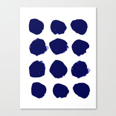 Aria - indigo brushstroke dot polka dot minimal abstract painting pattern painterly blue and white  Canvas Print