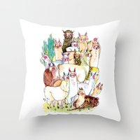 Wild Family Series - Lla… Throw Pillow
