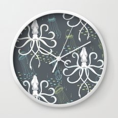 Ghostly Squid Damask Wall Clock