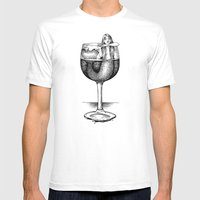 House Red With Mermaid Mens Fitted Tee White SMALL
