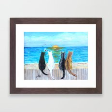 Cat Beach Sunset Framed Art Print