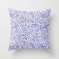 Vonnie - abstract minimal indigo blue dalmatian dots brushstrokes animal print monochromatic print Throw Pillow