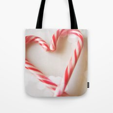 Candy Cane Heart Tote Bag