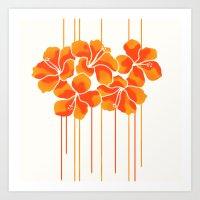 Hibiscus Stripe: Orange … Art Print