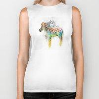 Drippy Jazzy Zebra by Jai Johnson Biker Tank