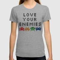 Love Your Enemies Womens Fitted Tee Athletic Grey SMALL