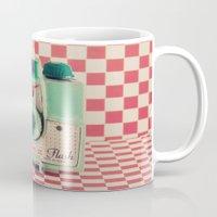 Mint Retro Camera on Red Chequered Background  Mug