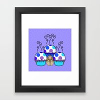 Cute Monster With Blue And Purple Polkadot Cupcakes Framed Art Print
