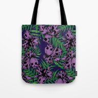 Tote Bag featuring Orchid Skulls by Huebucket