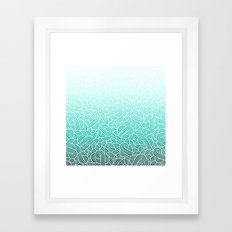 Ombre turquoise blue and white swirls doodles Framed Art Print