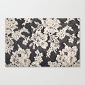 black and white lace- Photograph of vintage lace Canvas Print
