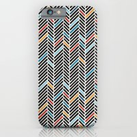 iPhone & iPod Case featuring Herringbone Blue and Black #3 by Project M