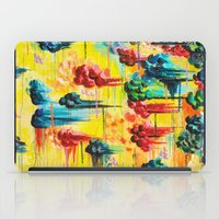 HERE COMES THE RAIN - Abstract Acrylic Painting Rain Storm Clouds Colorful Rainbow Modern Impasto iPad Case