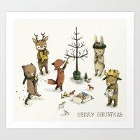Christmas Animals Poster… Art Print