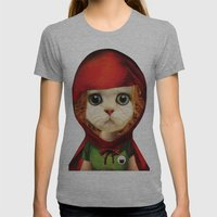 Kitten red riding  Womens Fitted Tee Athletic Grey SMALL