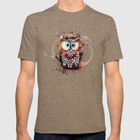 The Owl Mens Fitted Tee Tri-Coffee SMALL