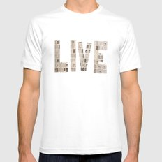 Live  White SMALL Mens Fitted Tee