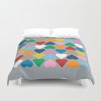 Up And Down Hearts On Gr… Duvet Cover