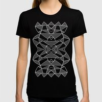 Abstraction Lines Mirrored White on Black Womens Fitted Tee Black SMALL