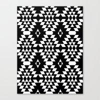 Aztec Inspired Pattern White & Black Canvas Print