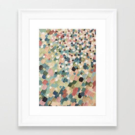 SWEPT AWAY 4 - Lovely Shabby Chic Soft Pink Ocean Waves Mermaid Splash Abstract Acrylic Painting Framed Art Print