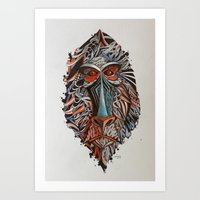 monkey Art Prints featuring Monkey by Condutta