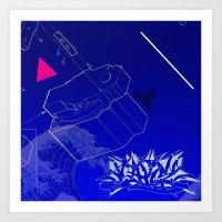 Blue Wave Graffiti  Art Print
