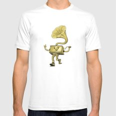 gramaphone Mens Fitted Tee White SMALL