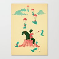 Tiny T-Rex Invasion Canvas Print